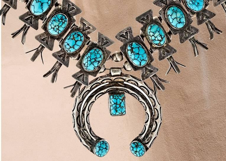 No 8 Turquoise Squash Blossom Necklace